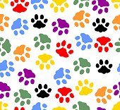 Beautiful background with colored prints of cat paws. Colorful cat footprints on white background. Vector EPS 10