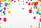 Beautiful background with Colorful balloons fly up  on transparent background