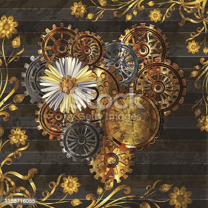 Beautiful background with heart in the style of steampunk. Vector illustration