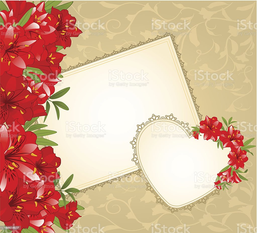 Beautiful background with lace ornaments and flowers. Vector royalty-free stock vector art