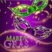 Beautiful background with Mardy Gras glitter inscription carnival or theatrical curtains, gold confetti and stage light. Vector illustration, concept design for poster, greeting card, party invitation, banner or flyer.