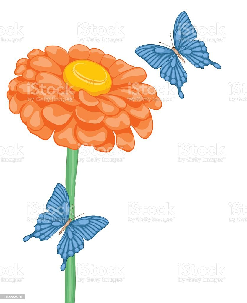 beautiful background with space for text with flower daisies and butterflies royalty-free stock vector art