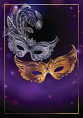 Beautiful background with two carnival or theatrical masks. Vector illustration, concept design for poster, greeting card, party invitation, banner or flyer.