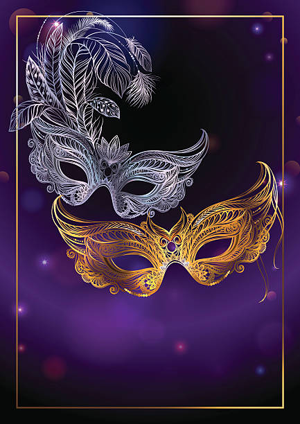 beautiful background with two carnival or theatrical masks. - mardi gras stock illustrations, clip art, cartoons, & icons