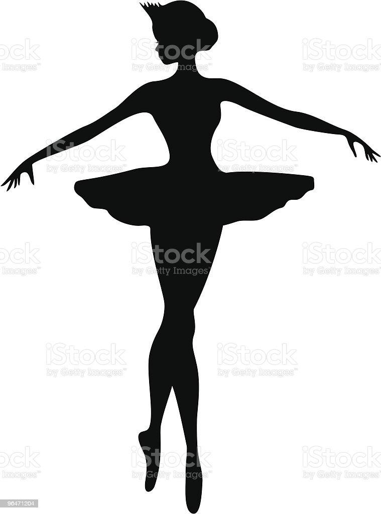 아름다운 발레리나 실루엣 벡터 아트 일러스트
