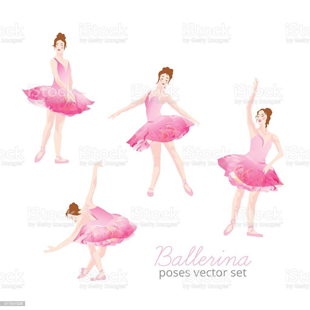 beautiful ballerina wearing pink tulle tutu design vector set