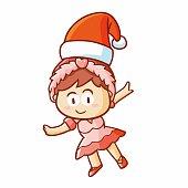 beautiful ballerina wearing Santa's hat for christmas