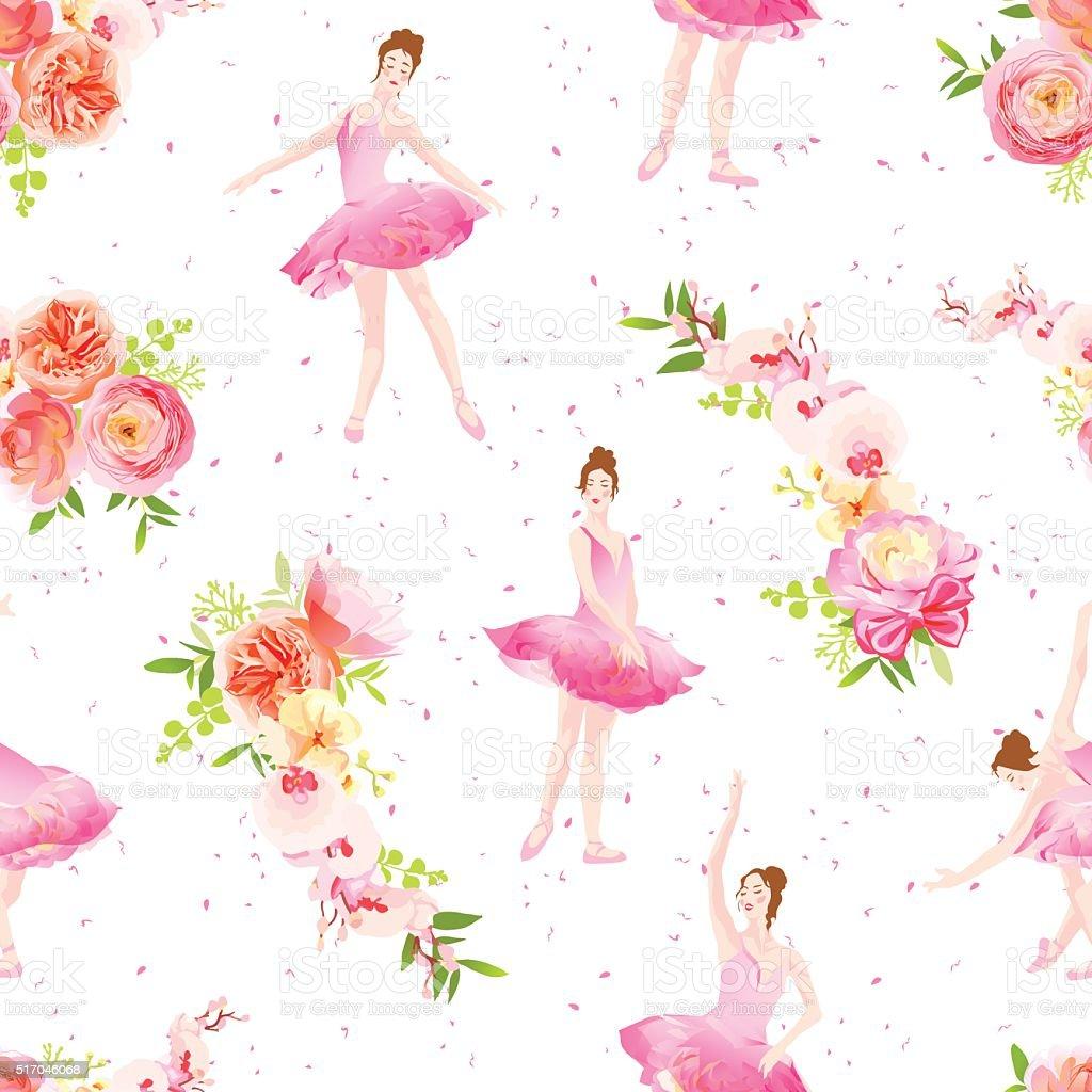 Ilustración de Hermoso Bailarinas Baile Y Primavera Guirnaldas De ...