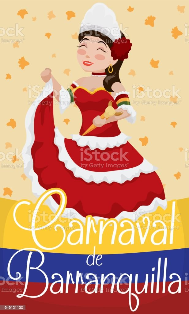 Beautiful Barranquilla's Carnival Queen with Flowers Rain and Colombian Flag vector art illustration