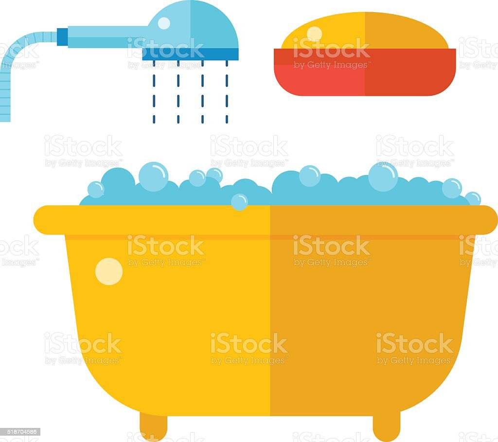 Beautiful bath with shower and soap cartoon flat vector illustration vector art illustration