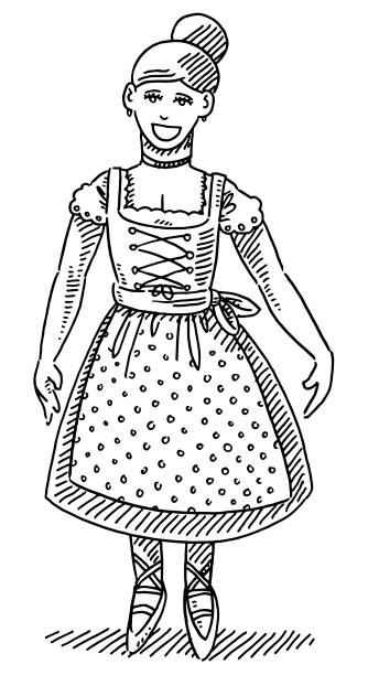 Beautiful Bavarian Woman Dirndl Drawing Hand-drawn vector drawing of a Beautiful Bavarian Woman in a traditional Dirndl clothing. Black-and-White sketch on a transparent background (.eps-file). Included files are EPS (v10) and Hi-Res JPG. oktoberfest stock illustrations
