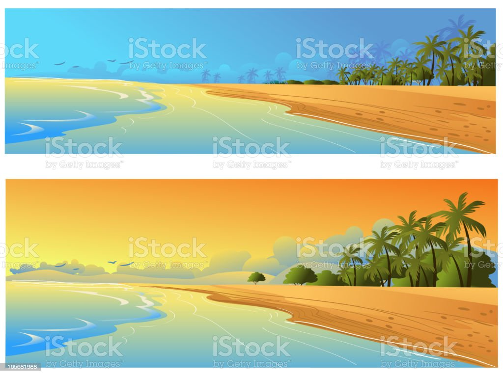 Beautiful Beach Backgrounds/Banners royalty-free stock vector art