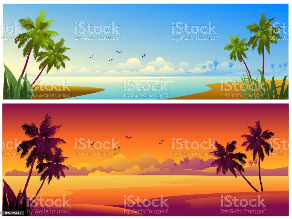 美しいビーチの背景/バナー ベクターアートイラスト