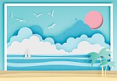 istock Beautiful beach paper art style with frame 652585360