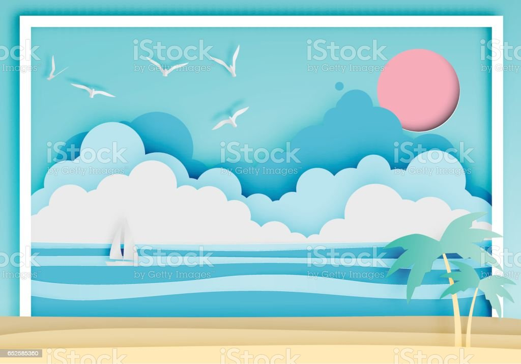 Beautiful beach paper art style with frame vector art illustration