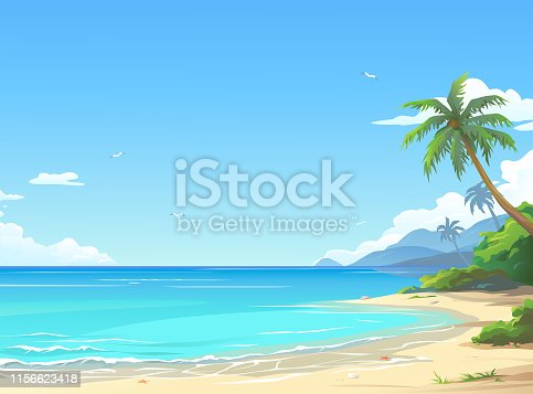 Vector illustration of a beautiful white sand beach with palm trees and a cloudy blue sky in the background. Illustration with space for text. 1