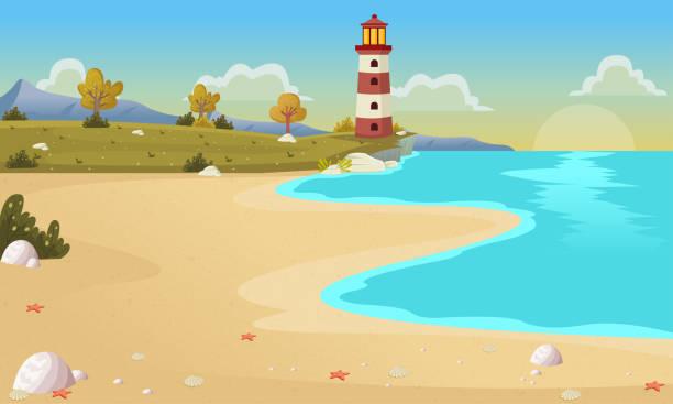 schöner strand mit blaue meer und den bäumen. - buchten stock-grafiken, -clipart, -cartoons und -symbole