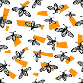 Beautiful bee seamless pattern, great design for any purposes. Vector vintage pattern. Seamless decorative pattern with orange elements.