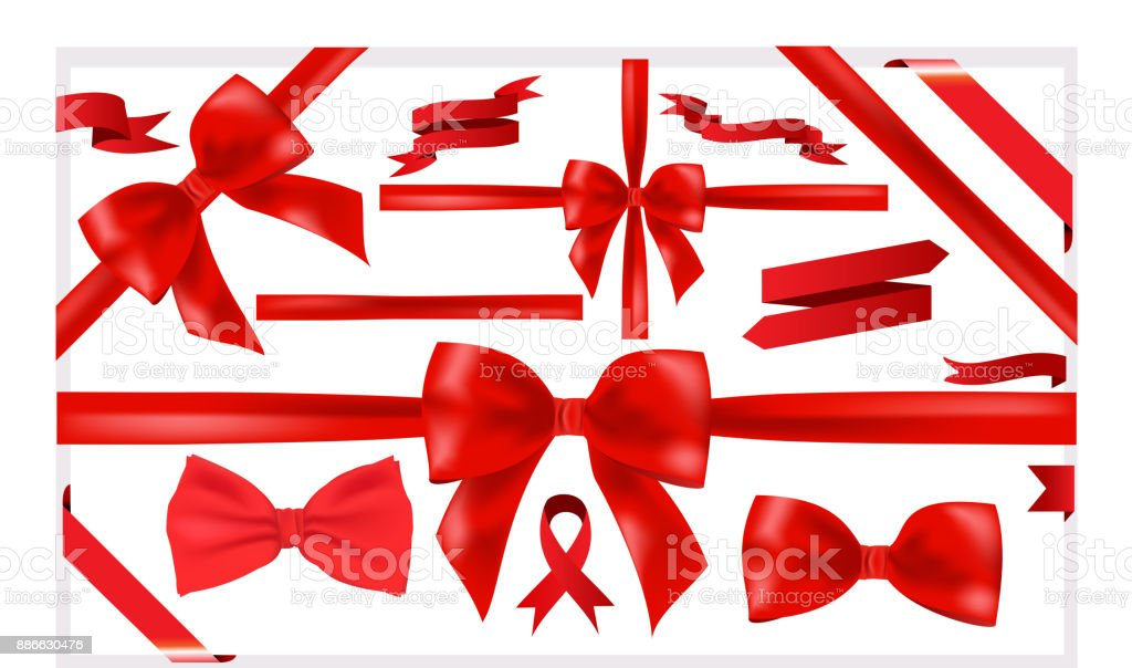 Beautiful big set of red ribbons for a great designs VECTOR – artystyczna grafika wektorowa
