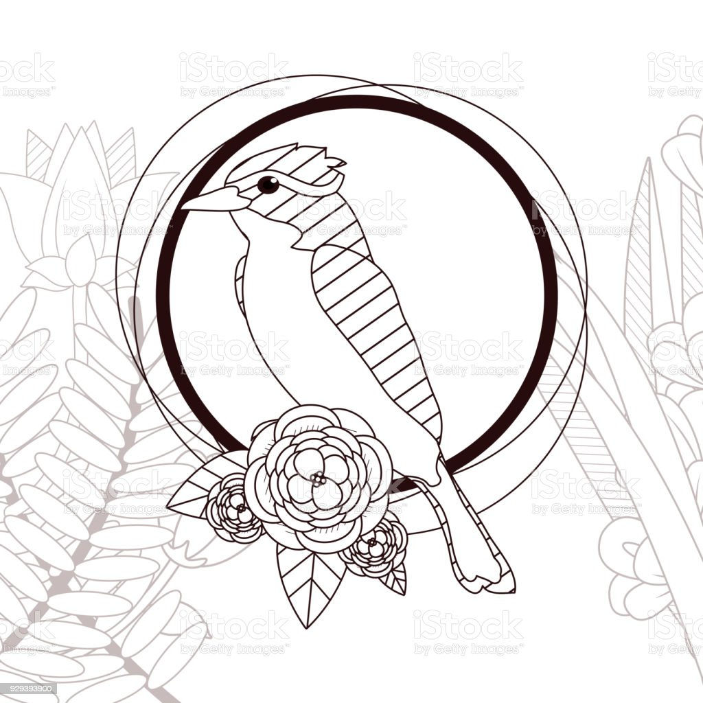 Schoner Vogel Mit Blumen Zeichnen Stock Vektor Art Und Mehr Bilder