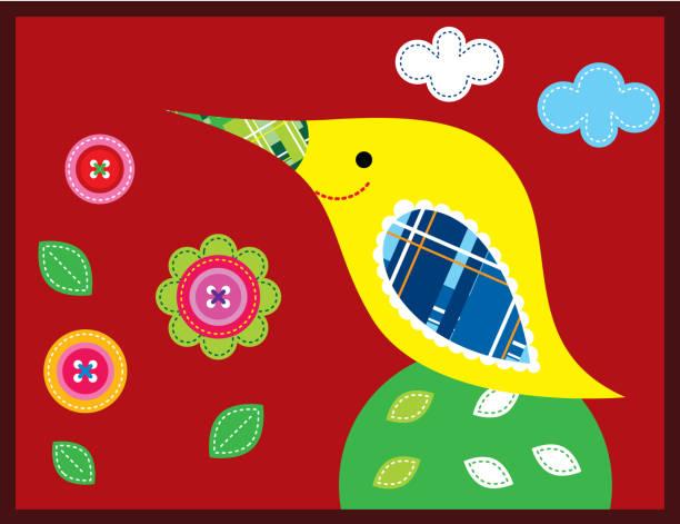 schöner Vogel Garten Vektor – Vektorgrafik