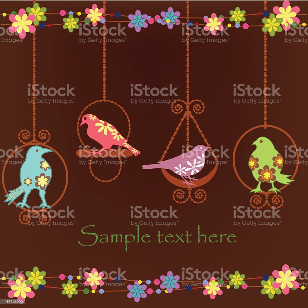 Beautiful birds in cages vector art illustration