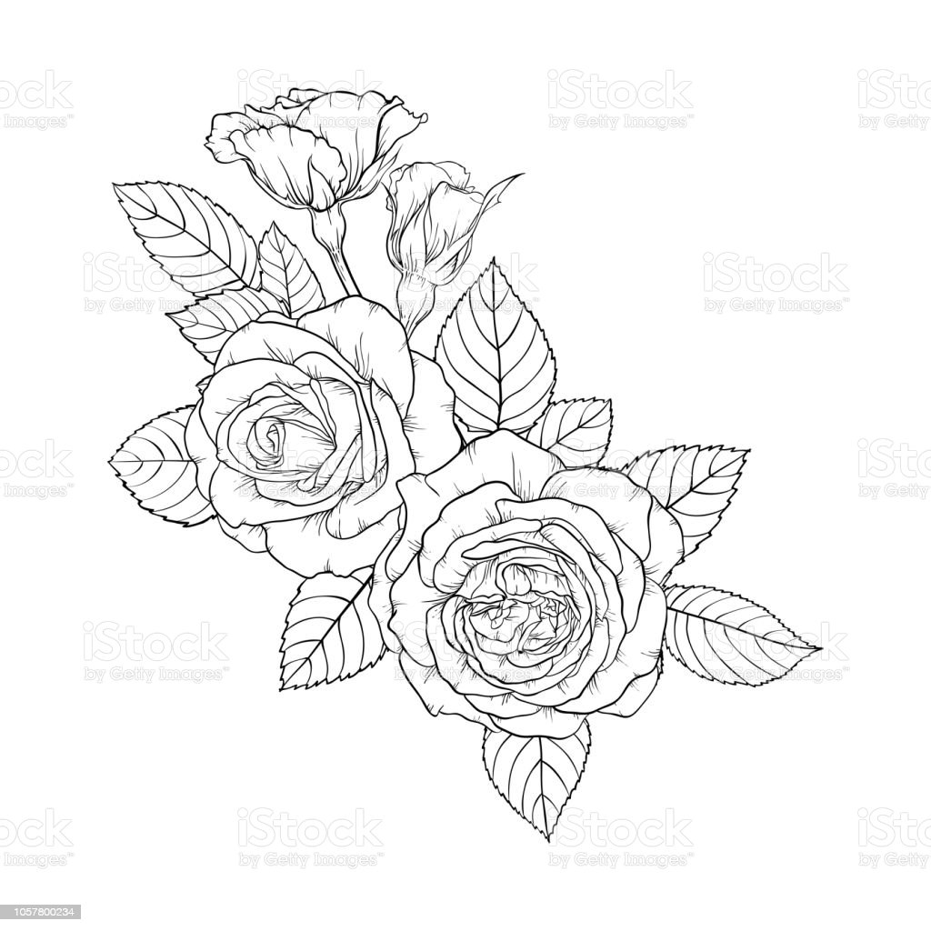 Beautiful Black And White Bouquet Rose And Leaves Floral Arrangement