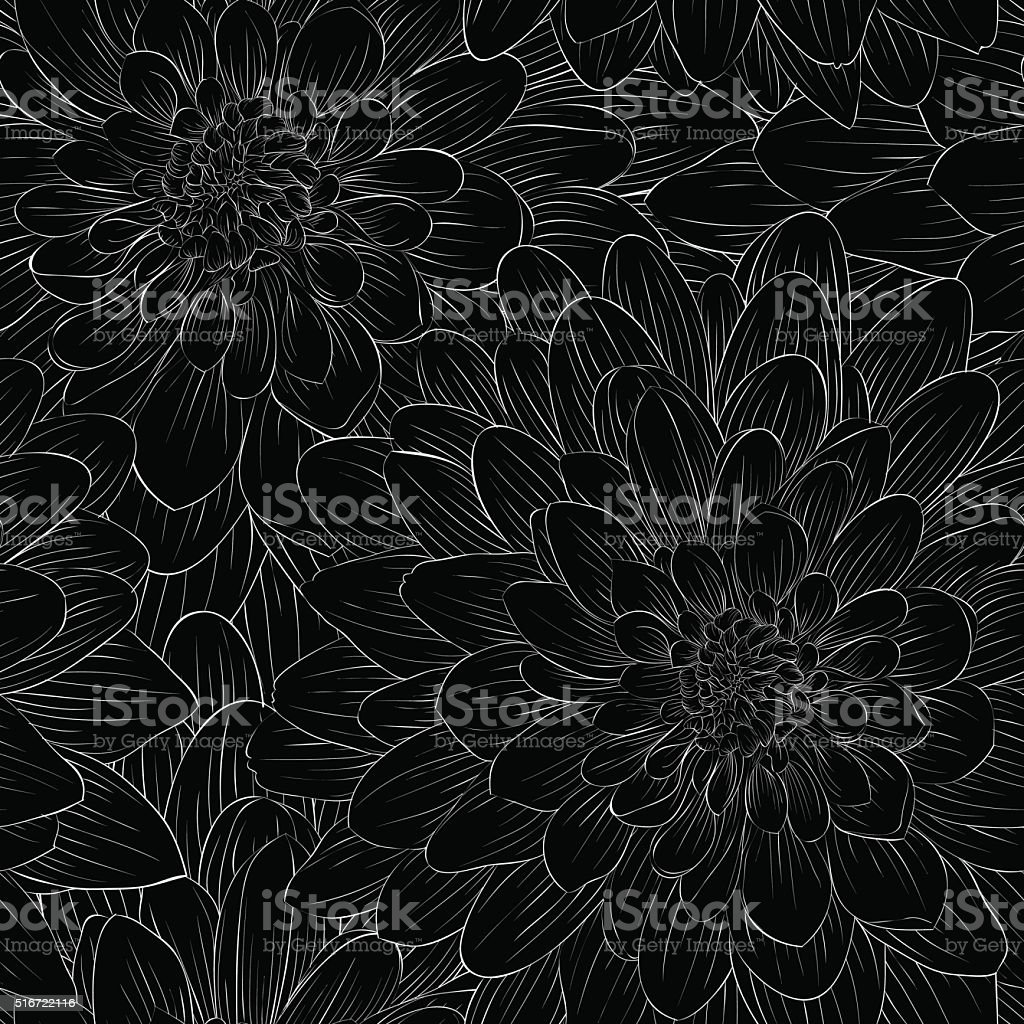 beautiful black and white seamless pattern in  dahlia vector art illustration