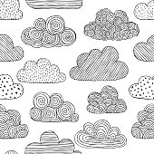 Beautiful black and white seamless pattern of doodle clouds. design background greeting cards and invitations to the wedding, birthday, mother s day and other seasonal autumn holidays