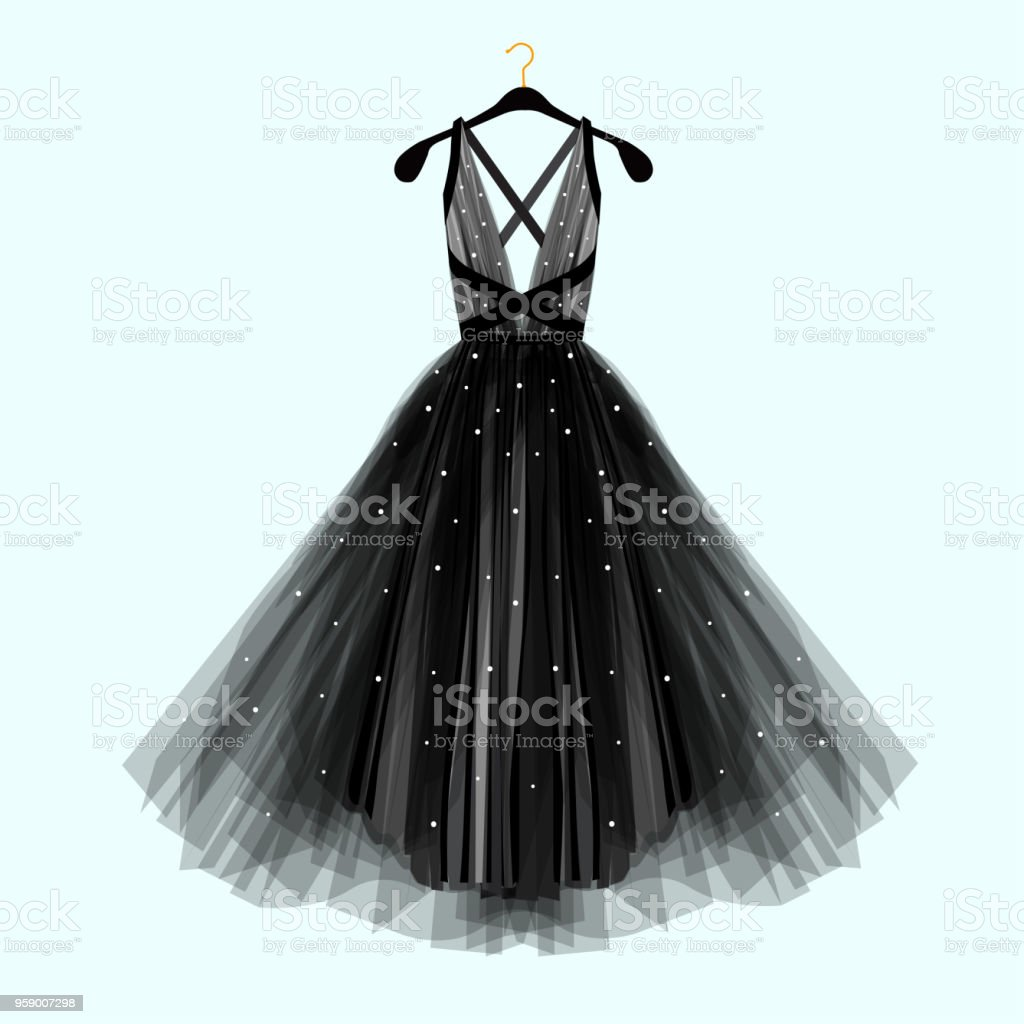 Beautiful black dress for special event. Vector Fashion illustration vector art illustration