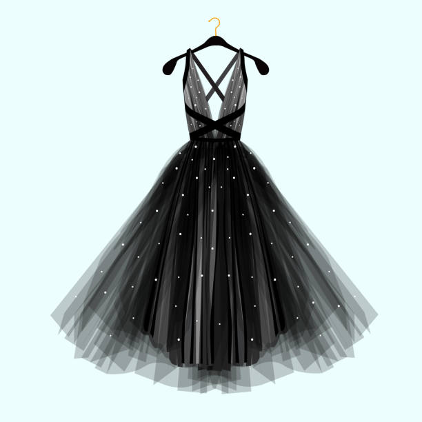 beautiful black dress for special event. vector fashion illustration - prom fashion stock illustrations, clip art, cartoons, & icons