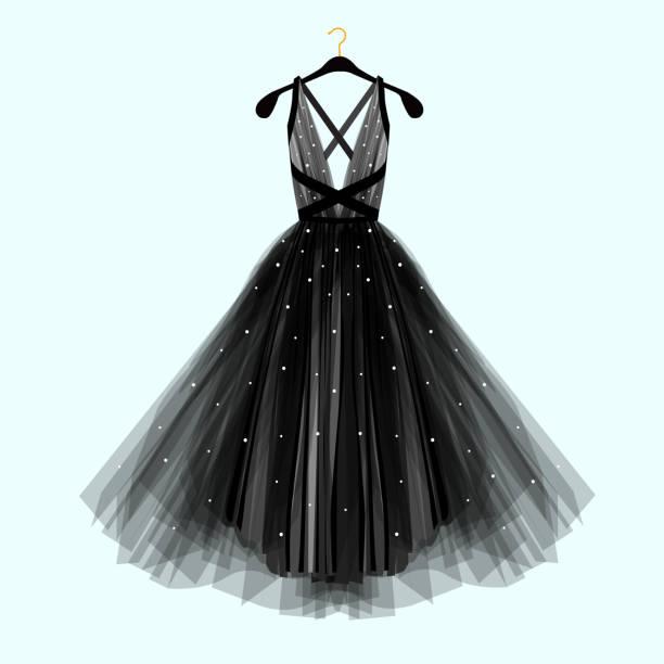 Beautiful black dress for special event. Vector Fashion illustration vector art illustration