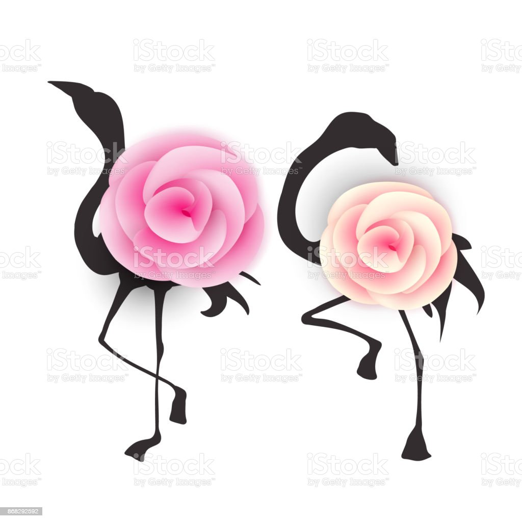 Beautiful Black Flamingo Birds Silhouettes With Paper Cut Out