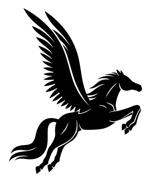 beautiful black pegasus sign. - pegasus stock illustrations