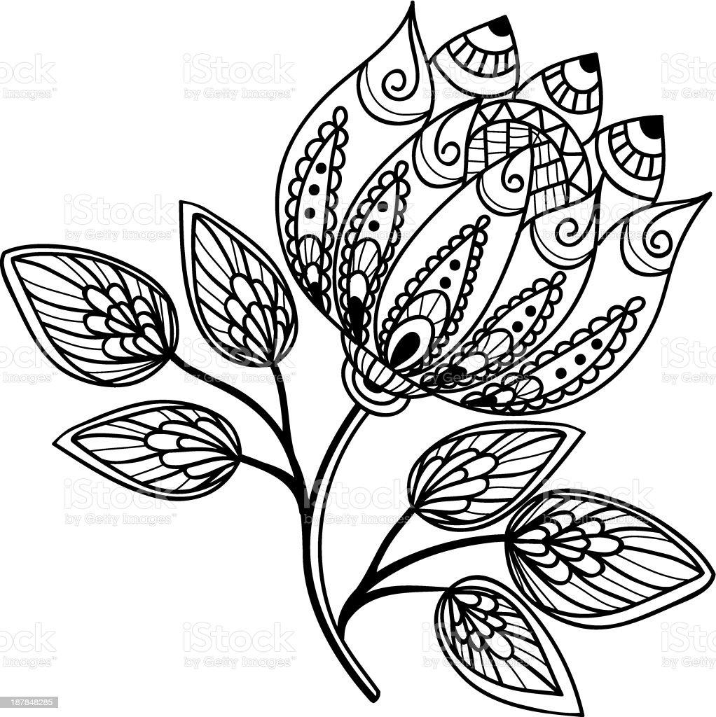 Vetores De Lindo Em Preto E Branco Flor Desenho à Mão E Mais