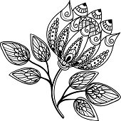 Beautiful black-and-white flower, hand drawing