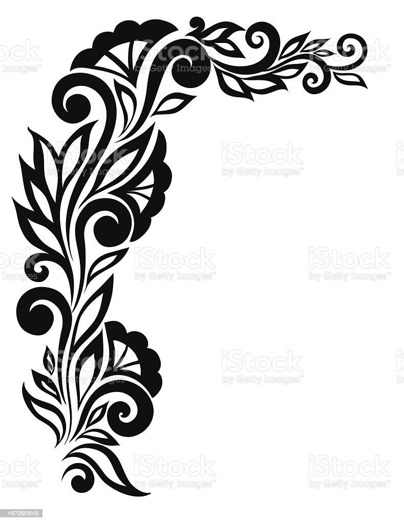 Beautiful Blackandwhite Lace Flower In The Corner Stock Vector Art