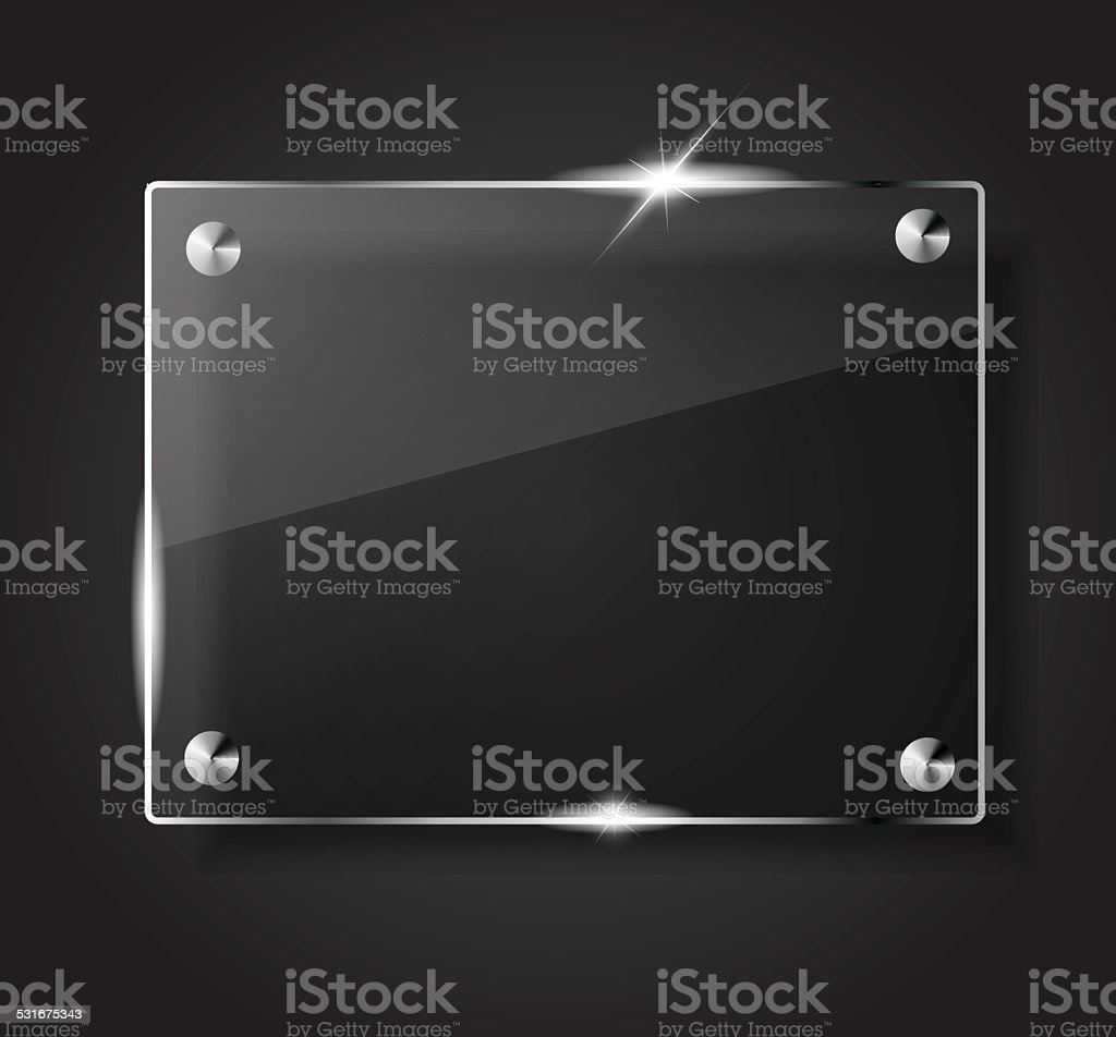 Beautiful blank shining glass banner on a black background vector vector art illustration