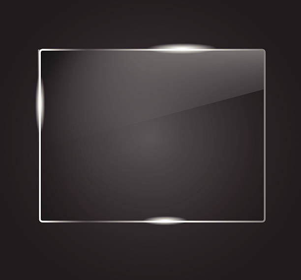 Beautiful blank shining glass banner on a dark background VECTOR vector art illustration