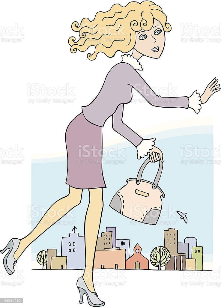 beautiful blond girl running / city royalty-free beautiful blond girl running city stock vector art & more images of activity