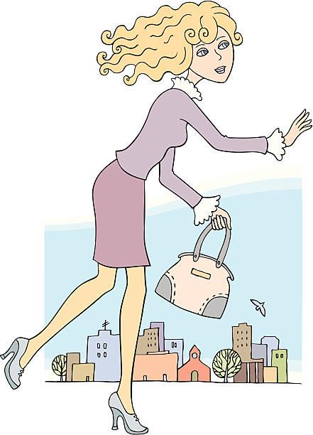 ilustrações de stock, clip art, desenhos animados e ícones de bela menina de loiro running/cidade - young woman running city