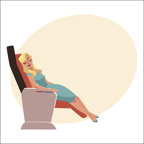 beautiful blond woman sleeping in airplane business class seat - airplane seat stock illustrations