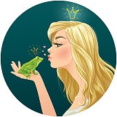 Beautiful blonde princess kisses a frog