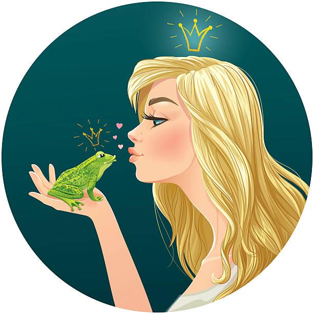 wunderschöne blondine prinzessin küsse ein frosch - prince stock-grafiken, -clipart, -cartoons und -symbole