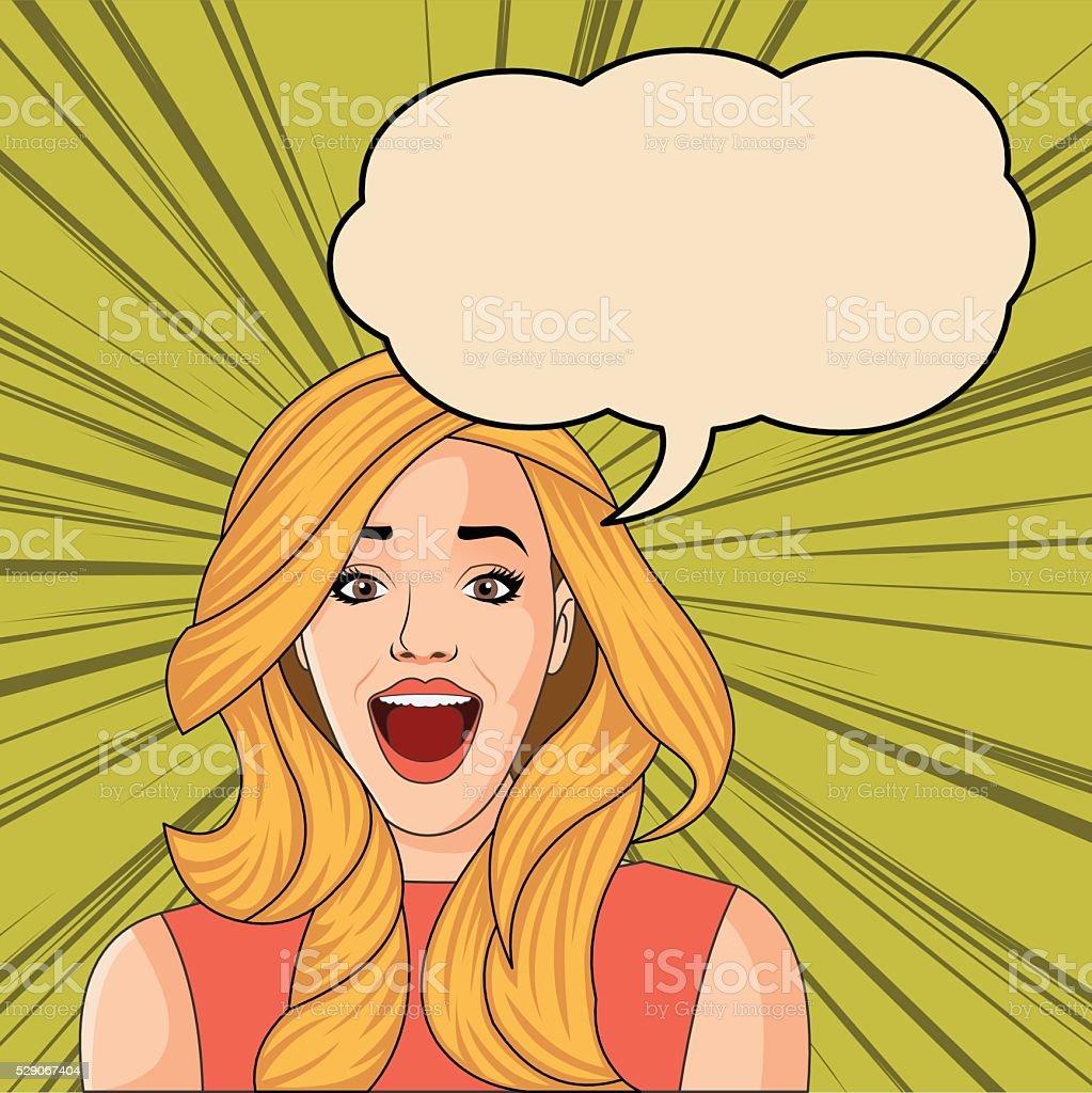 Beautiful blonde retro surprised woman screaming vector art illustration