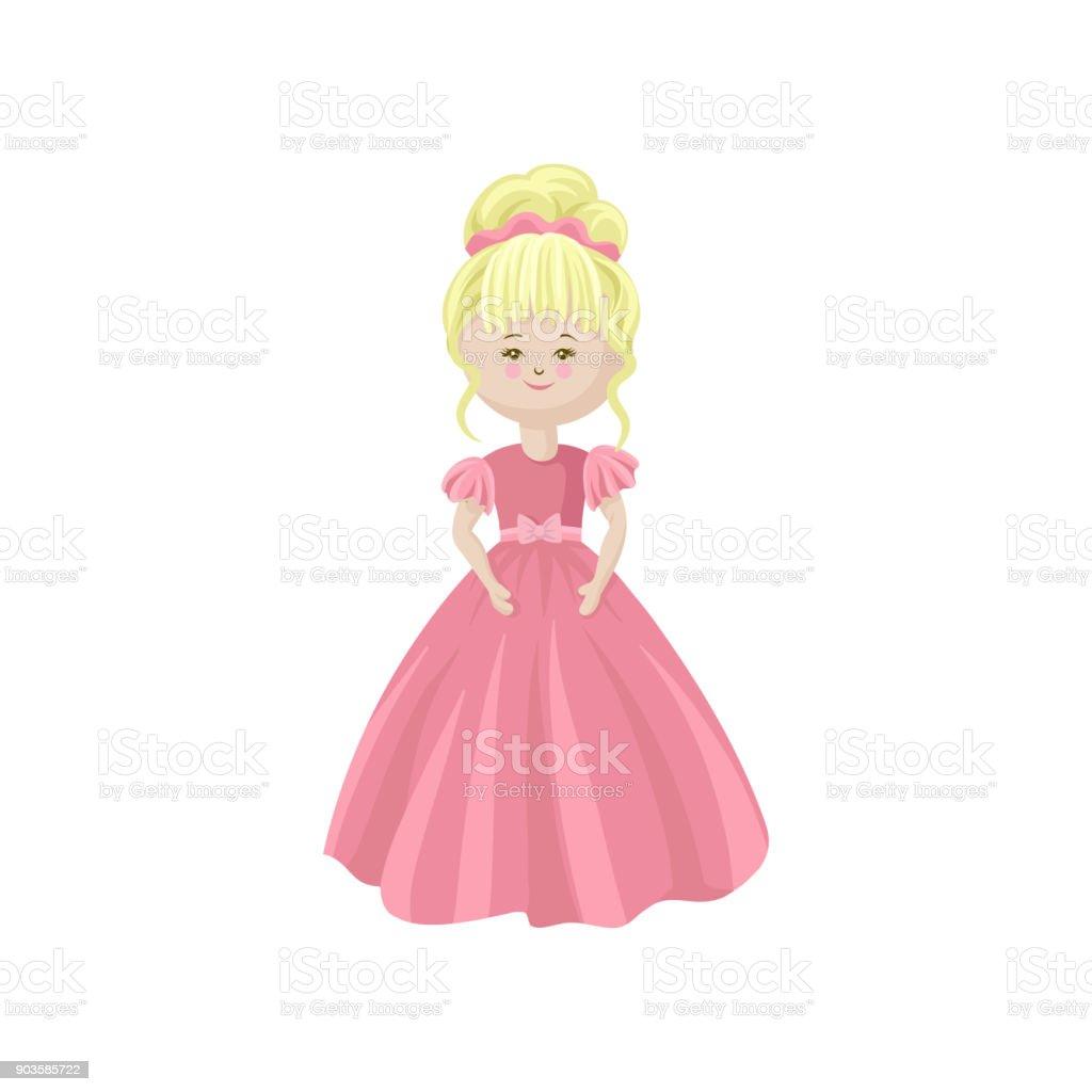Belle Poupée Blonde De Princesse Mou Dans Une Robe Rose