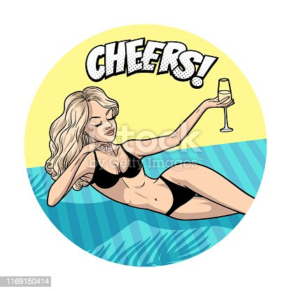 Beautiful blonde woman in bikini relaxing on beach with a glass, comic pop art style, cheers, vector illustration