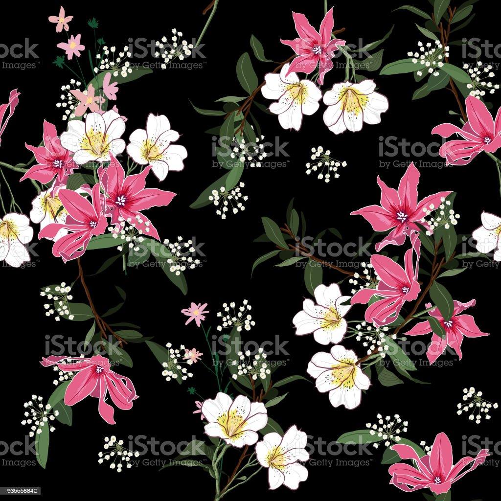 A Beautiful Blooming Flower Garden Night Botanical Plants Seamless
