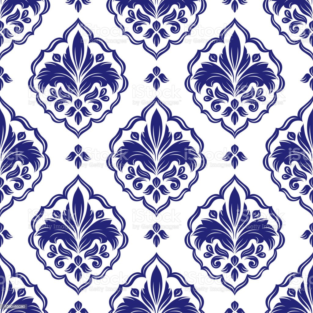 Beautiful Blue And White Floral Seamless Pattern Vintage Vector