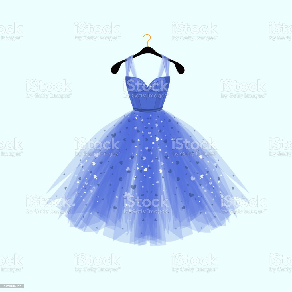 Beautiful blue dress for special event. Vector Fashion illustration vector art illustration